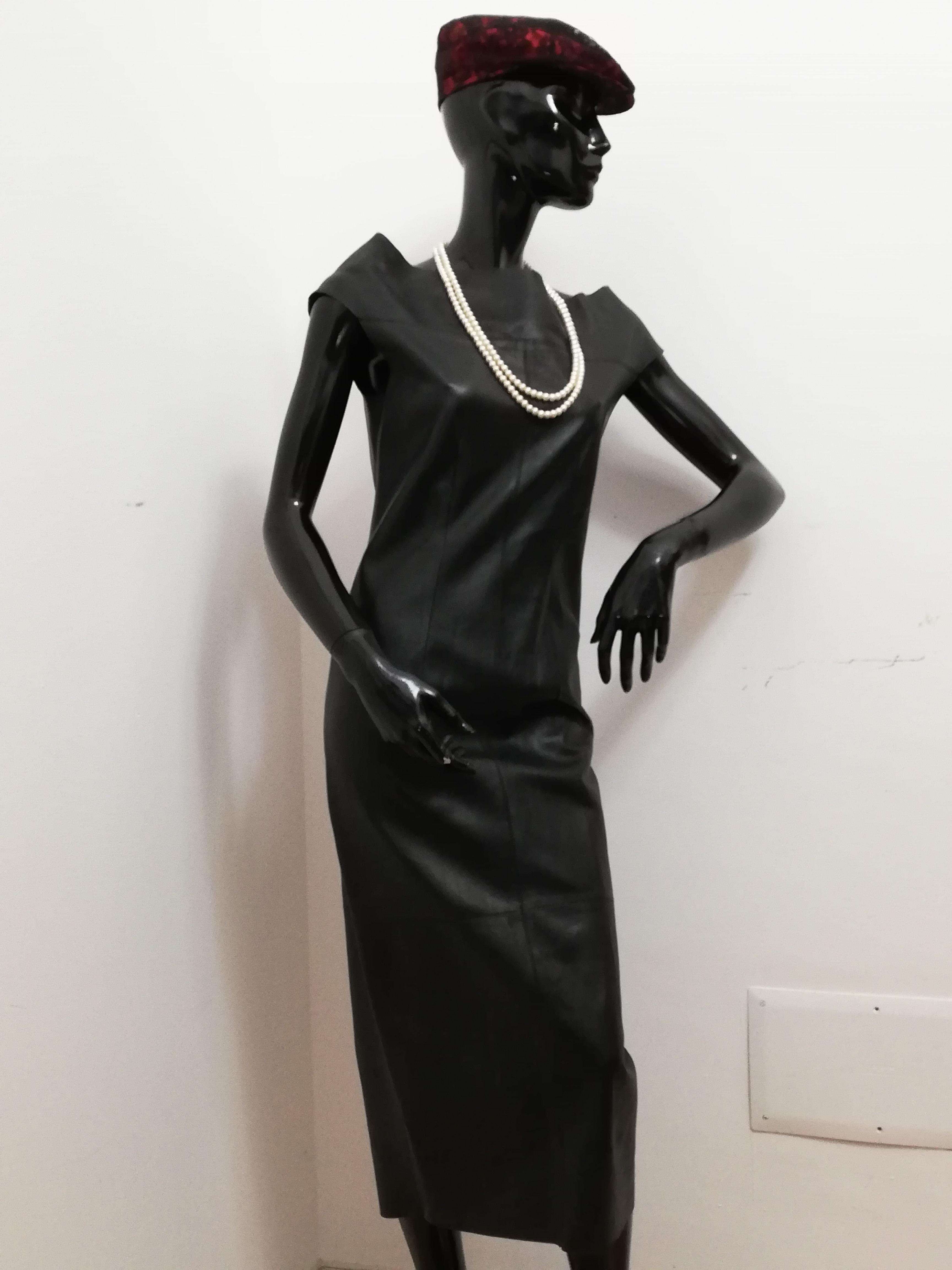 new concept 6fc1e 508cf Abito lungo Patermo Donna in Pelle nappa, colore Nero, vestito tubino  qualità artigianale